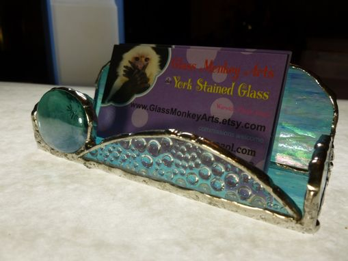 Custom Made Iridescent Light Blue Stained Glass Business Card Holder