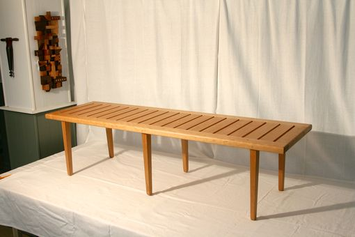 Custom Made Wegner Style Slat Bench In Cherry