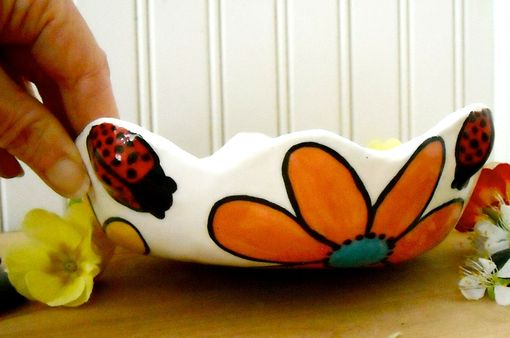 Custom Made Ceramic Pottery Lady Bug Garden Flower Bowl - Salad, Dessert, Candy Dish