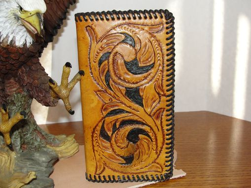 Custom Made Leather Handcarved Check Book