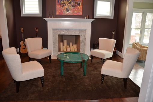 Custom Made Custom Round Metal Coffee Table Art With Beautiful Turquoise And Jade Green Paint Color