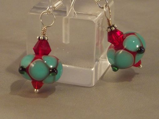 "Custom Made Unique Lampwork Glass Bead Earrings ""Cool Minty Red"" Made-To-Order / Other Colors Available"