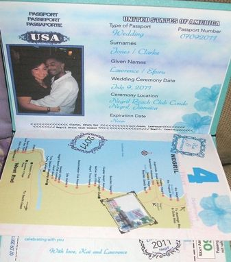 Custom Made 100 Custom Passport Wedding Invitations, Cover Designed To Your Specifications, 6 Total Pages
