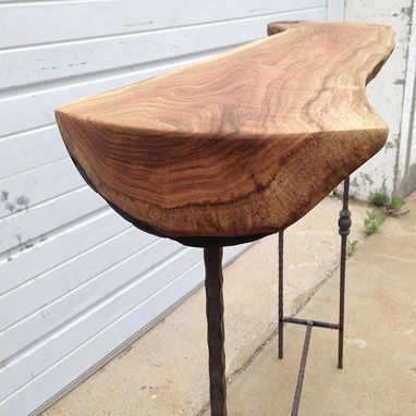 Custom Made White Walnut / Butter Nut Table With Salvaged Hammered Iron Legs