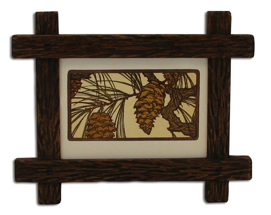 Custom Made Carved Adirondack Rustic Picture Frame By Solid Wood