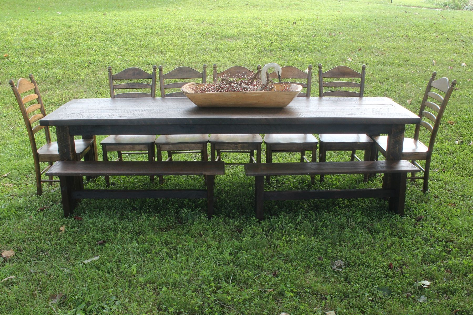 Hand Crafted Custom Rustic Black Walnut Farm Table Dining Set By - Black farmhouse table and chairs