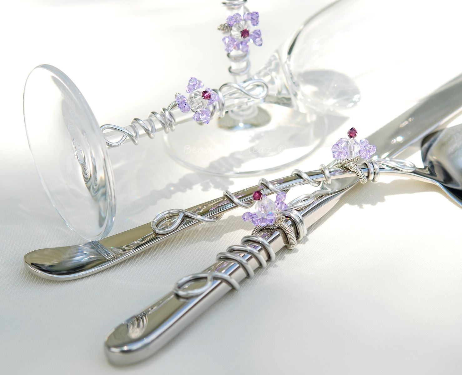 Custom Made Wedding Cake Server Set And Matching Toasting Flutes