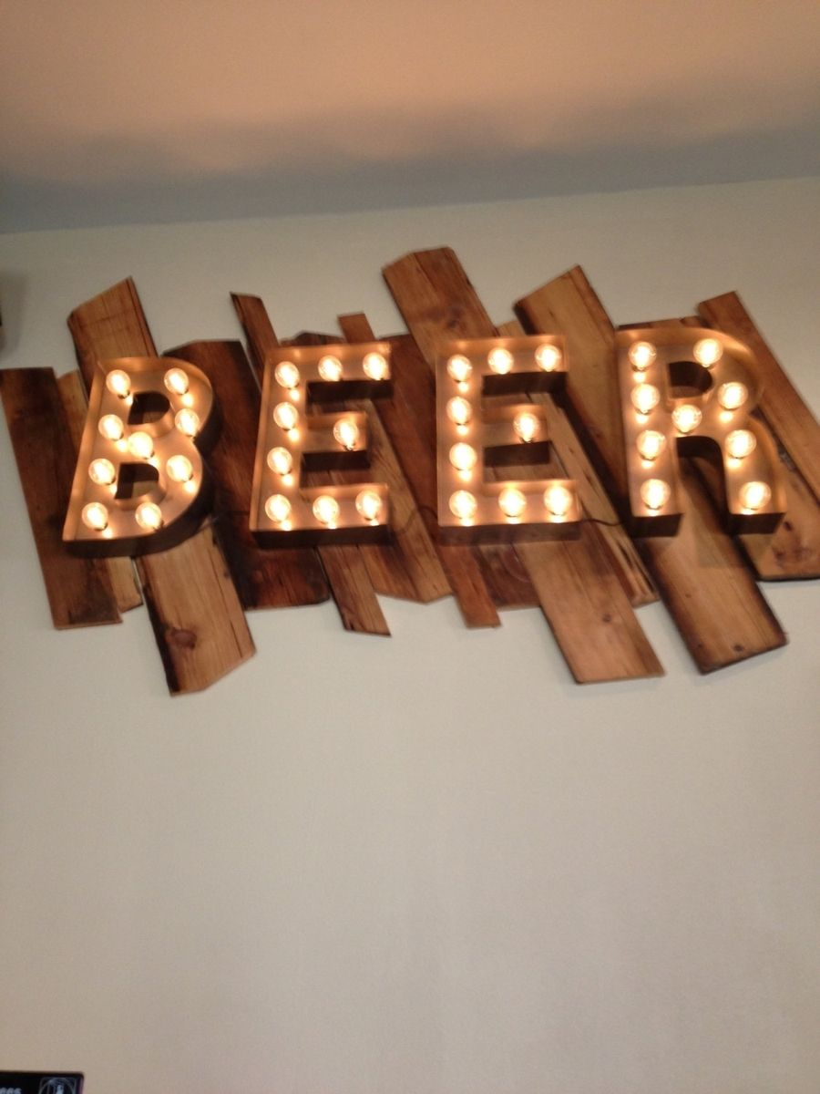 Metal Letter Signs With Lights Handmade Beer Sign Vintage Style Metal Letters Light Fixture 18