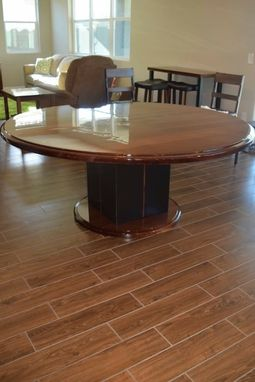 Custom Made Round Walnut Table With Steel Pedestal