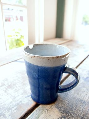 Custom Made Ceramic Coffee Or Tea Mugs In Blue And White