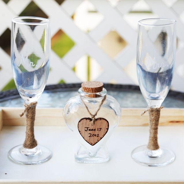 Custom Rustic Heart Vase Wedding Unity Sand Ceremony Set With