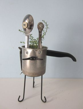 Custom Made Planter - Reboot Robot Plant Holder Made From A Sauce Pan