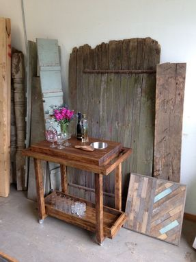 Custom Made Rustic Reclaimed & Sustainably Harvested Bar Cart Trolley
