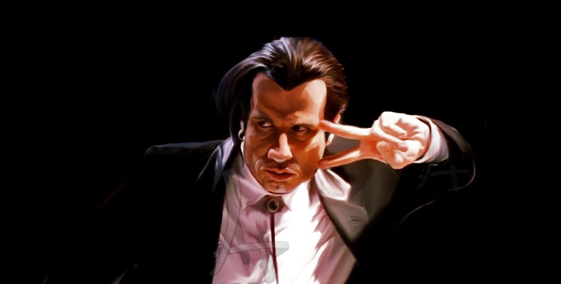 Hand Made Custom Caricatures. John Travolta As Vicent Vega