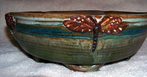 Custom Made Hand Made Dragonfly Bonsai Pot