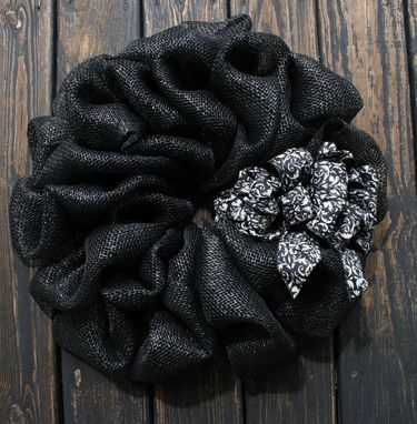 Custom Made Black Faux Burlap Wreaths For Double Doors