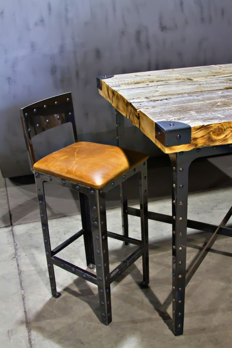 hand made industrial pub height table bar stools by basin custom. Black Bedroom Furniture Sets. Home Design Ideas