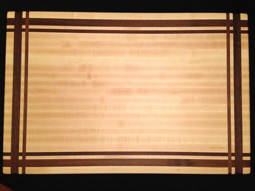 Custom Made Large Rock Maple And Black Walnut Cutting Board