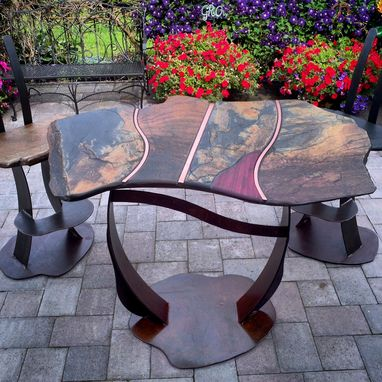 Custom Made Modern Indian Raja Slate Bar Height Table And Stool Set With Inlay Of Purple Heart And Copper