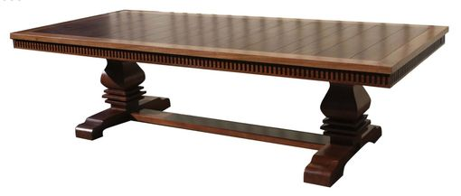 Custom Made Custom Solid Mahogany Extension Trestle Dining Table