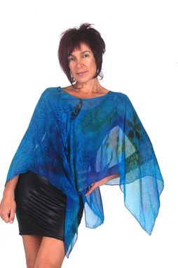 Custom Made Hand Painted Silk Crepe Georgette Poncho, Blue Grapes