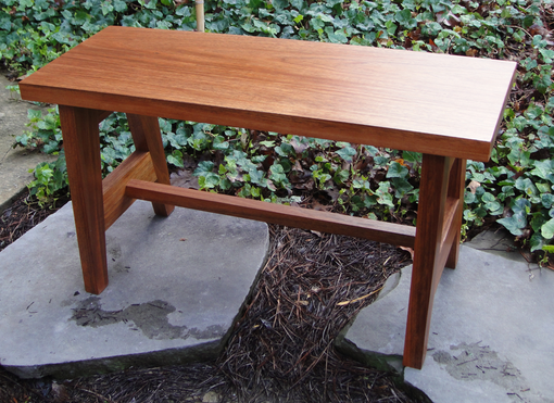 Custom Made Solid Mahogany Bench Seat Or Accent Table In A Contemporary Style.