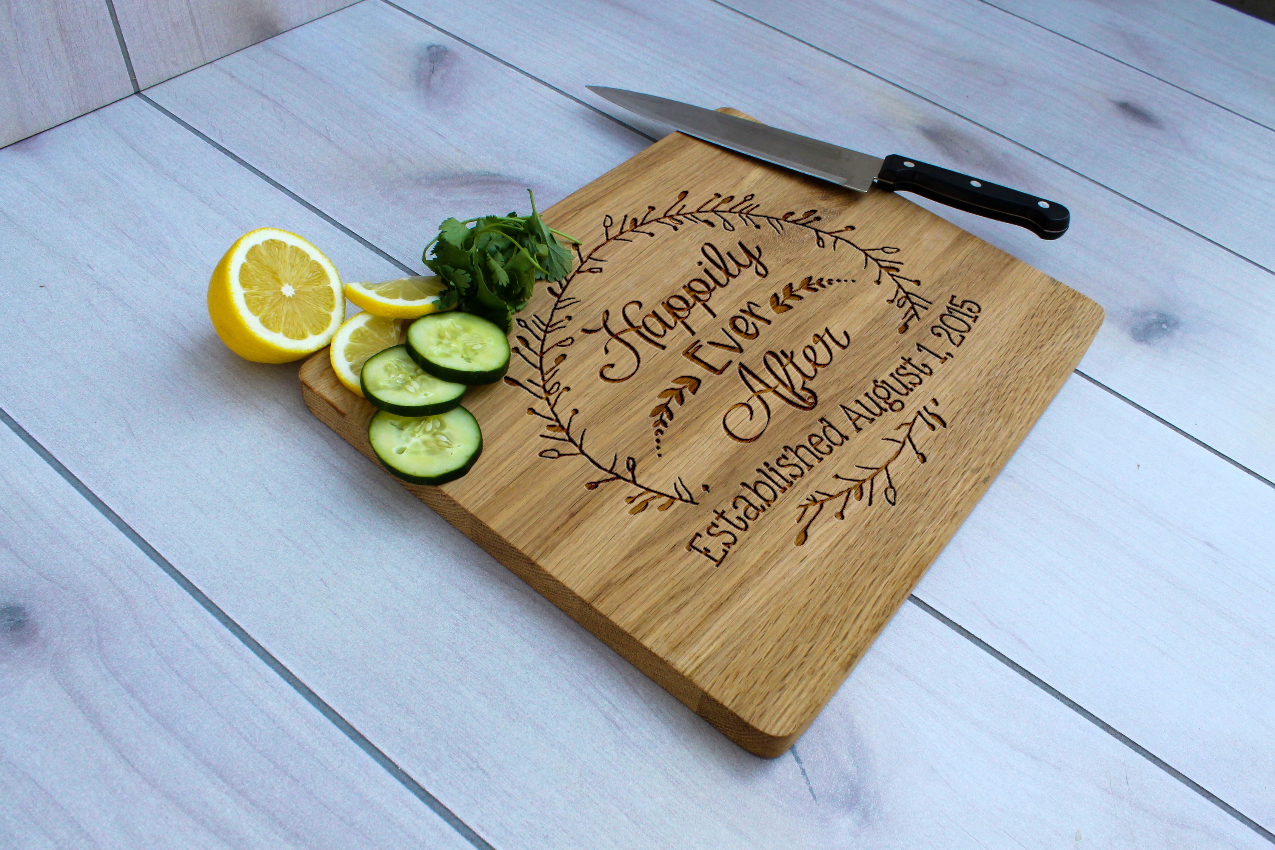 Buy Hand Crafted Personalized Cutting Board Engraved Cutting Board Custom Wedding Gift Cb Wo Happily Ever After Made To Order From Etchey Custommade Com
