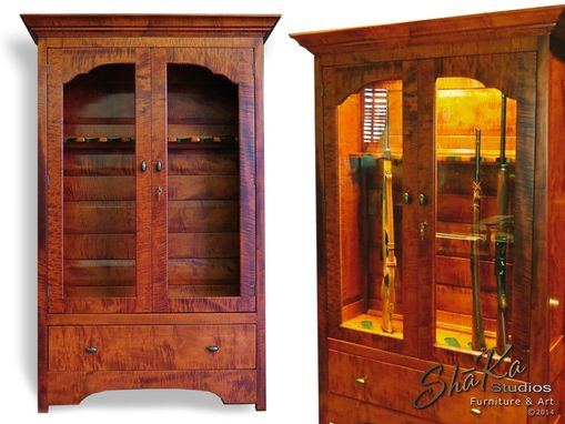 Custom Made Tiger Maple Executive Gun Cabinet And Den Chair