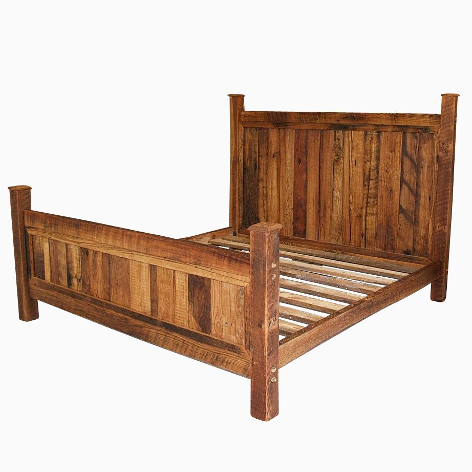 cabin style reclaimed wormy chestnut bed frame