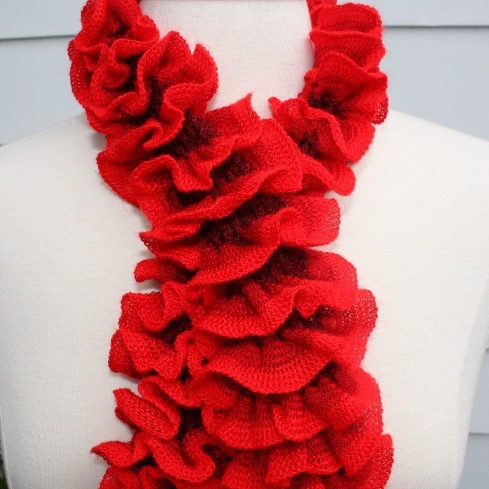 handmade knit ruffle scarf scarflette cowl