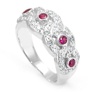 Custom Made Ruby And Diamond Ring In 14k White Gold, July Birthstone Ring, Ladies Ring Ruby Ring