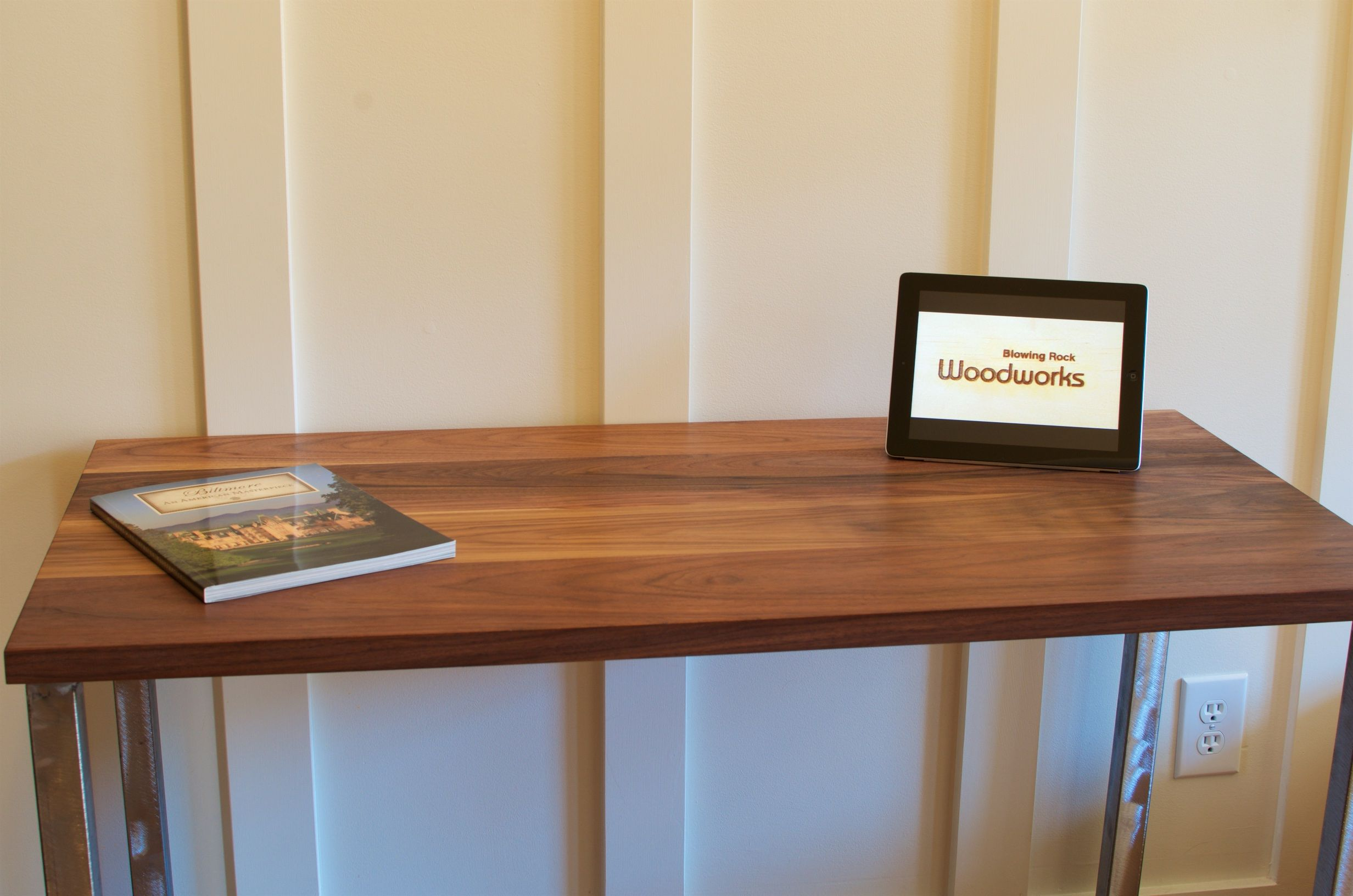Wooden Desk Designs buy handmade walnut wood desk, modern walnut desk, brushed steel