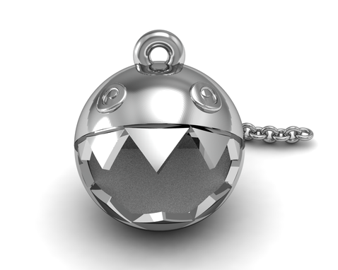 Custom Made Chain Chomp Pendant In Sterling Silver .925