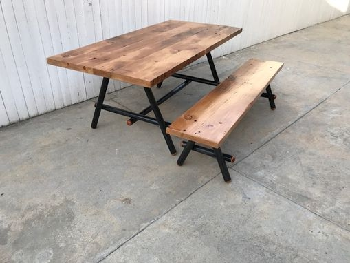 Custom Made Dining Set, Metal And Reclaimed Wood