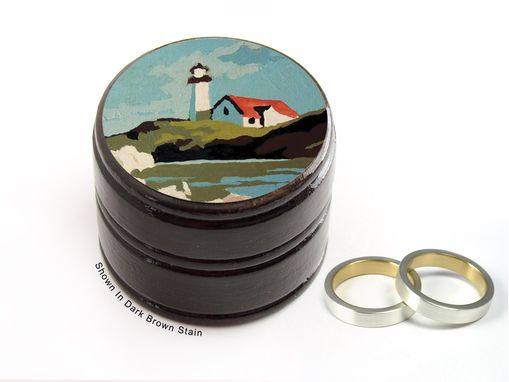 Custom Made Paint By Numbers Light House Pill Box, Ring Box