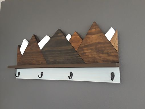Custom Made Rustic Coat Rack With Snow Capped Mountains, Shelf With Hooks, Wood Wall Coat Rack, Storage