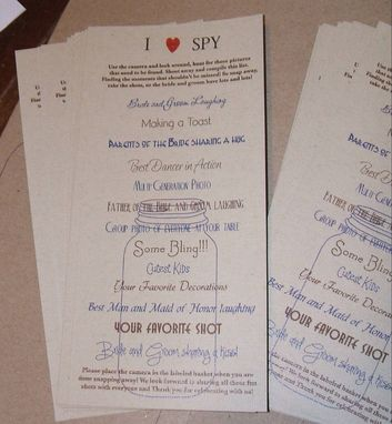 Custom Made 50 Custom Personalized I Spy Cards For Rehearsal Dinners, Receptions, Showers, Any Event