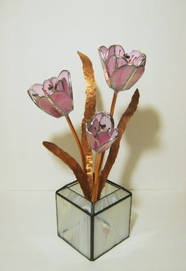Custom Made Tulips In Soft Pink Stained Glass