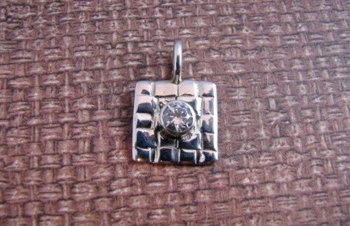 Custom Made Woven Textured Sterling Silver Square Pendant With White Cz