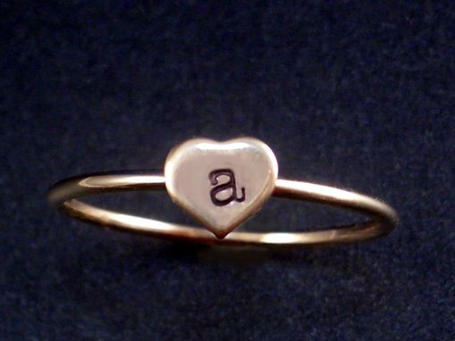 Custom Made Gold Initial Ring With Hand Stamped Ring
