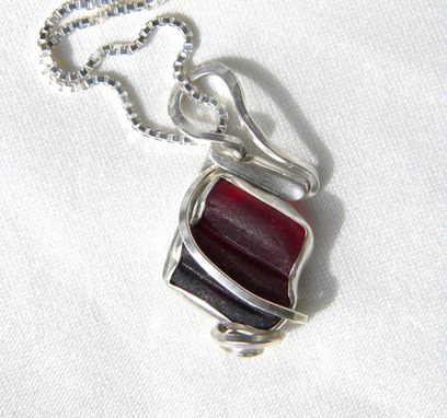 Custom Made Silver Diamond With Red Sea Glass