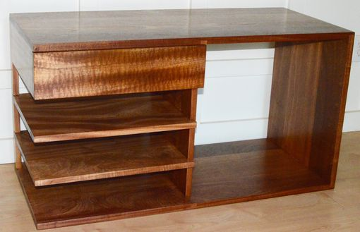 Custom Made Solid Sapele Nightstand With Figured Floating Drawer And Shelves