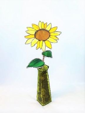 Custom Made Sunflower In Stained Glass- Industrial Flower- Sculpture
