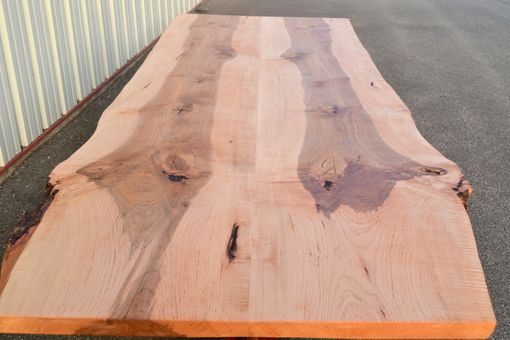 Custom Made Live Edge Curly Maple Dining Table With Walnut Base