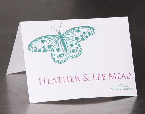 Custom Made Wedding Place Cards - Large Butterfly - Escort Cards Favor Tags Custom Designed