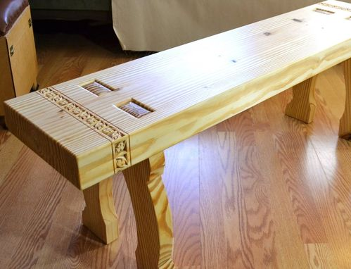 Custom Made Skansen Bench With Chip Carved Border