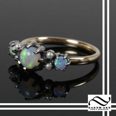 Custom Made Vintage Styled Opal And Pearl Ring