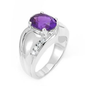 Custom Made Amethyst Diamond Ring, Engagement Ring, February Birthstone Ring