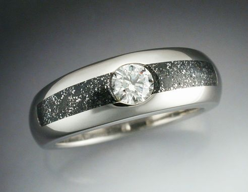 Custom Made 14k White Gold Ring With Iron Infused Chondrite Meteorite And An Ideal Cut Diamond