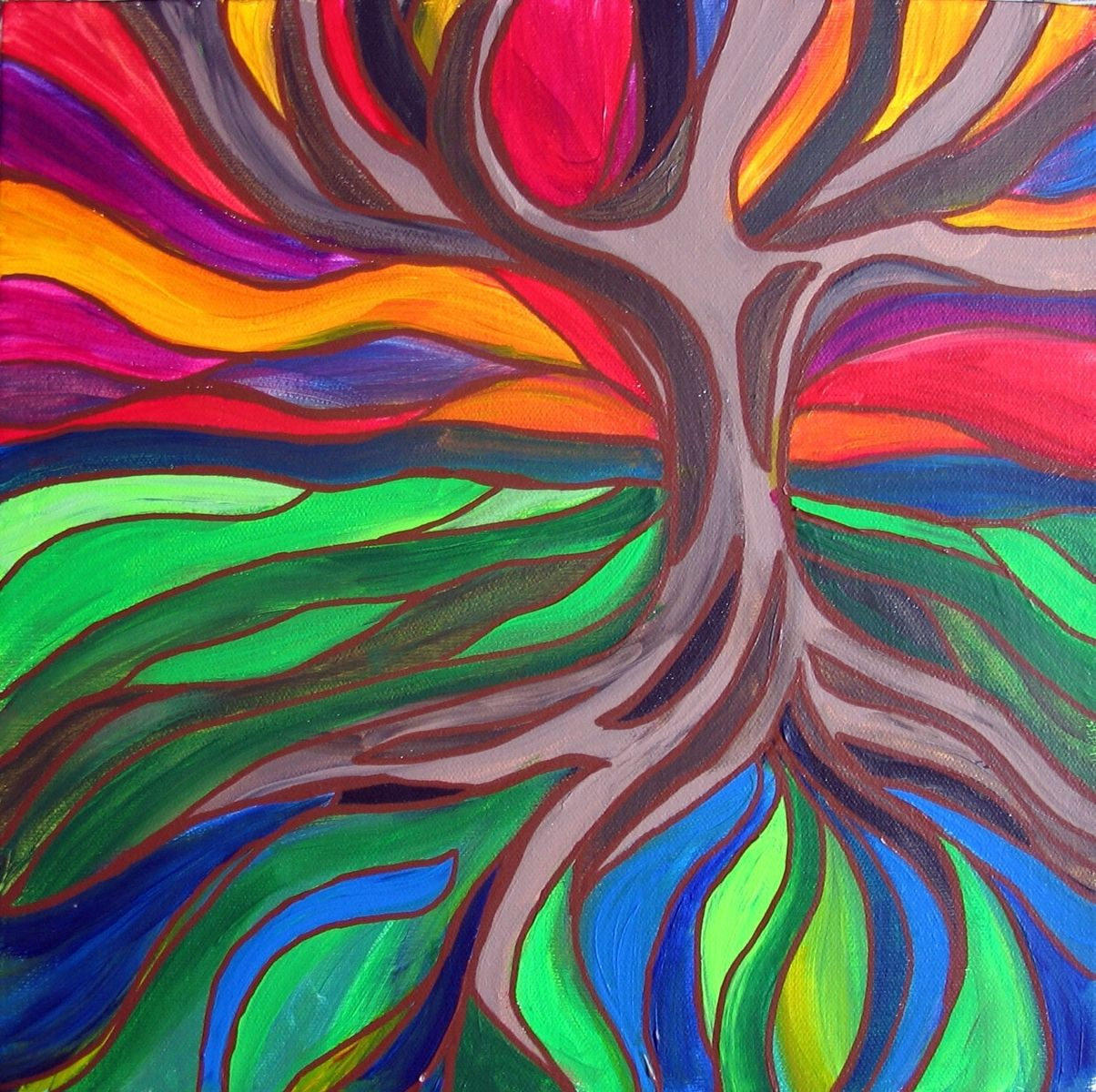 Hand Made Original Acrylic Painting Of Whimsical Trees by Kelly\'s ...